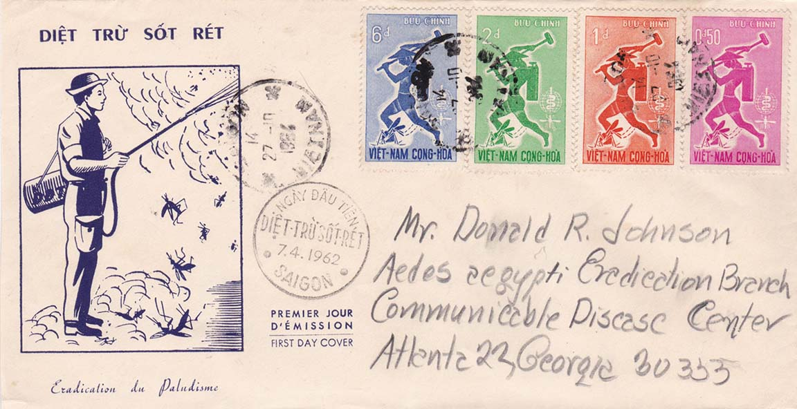 South Vietnam Scott 185-188 FDC (Front) Addressed to Donald R Johnson