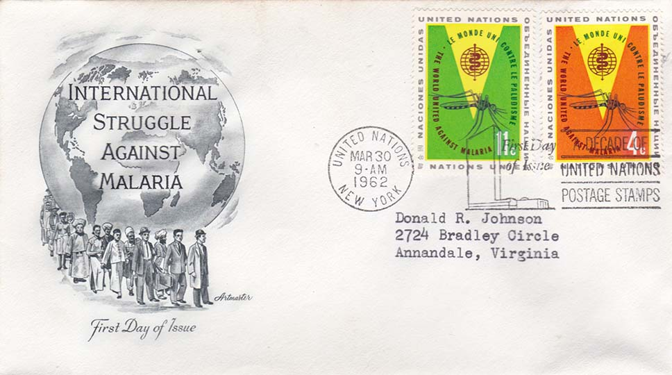 United Nations Scott 102-103 Artmaster FDC Addressed to Donald R Johnson