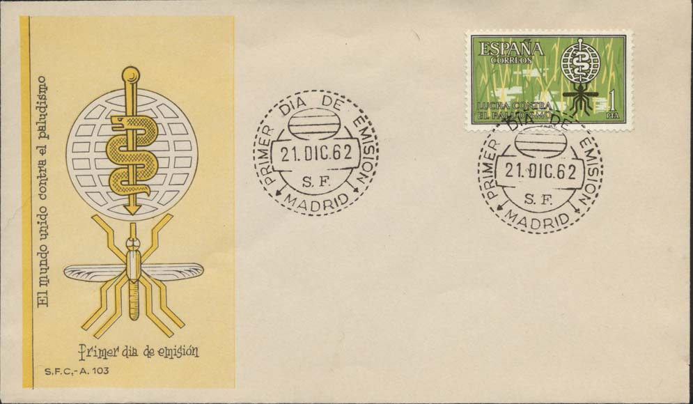Spain Scott 1152 FDC - Yellow S.F.C. Cachet